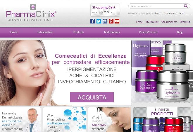 Sito E-commerce per azienda Cosmeceutica su scala Internazionale